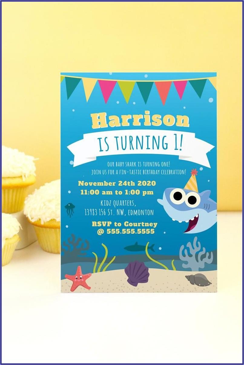Baby Shark Birthday Invitations Template