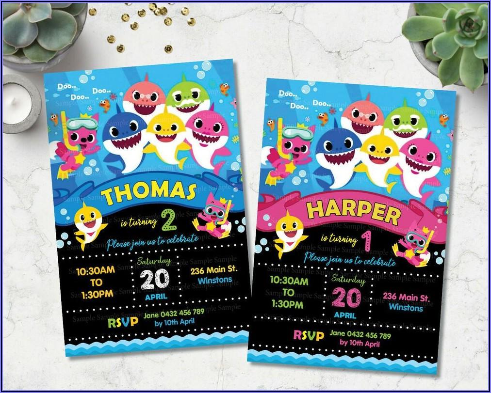 Baby Shark Girl Birthday Invitations