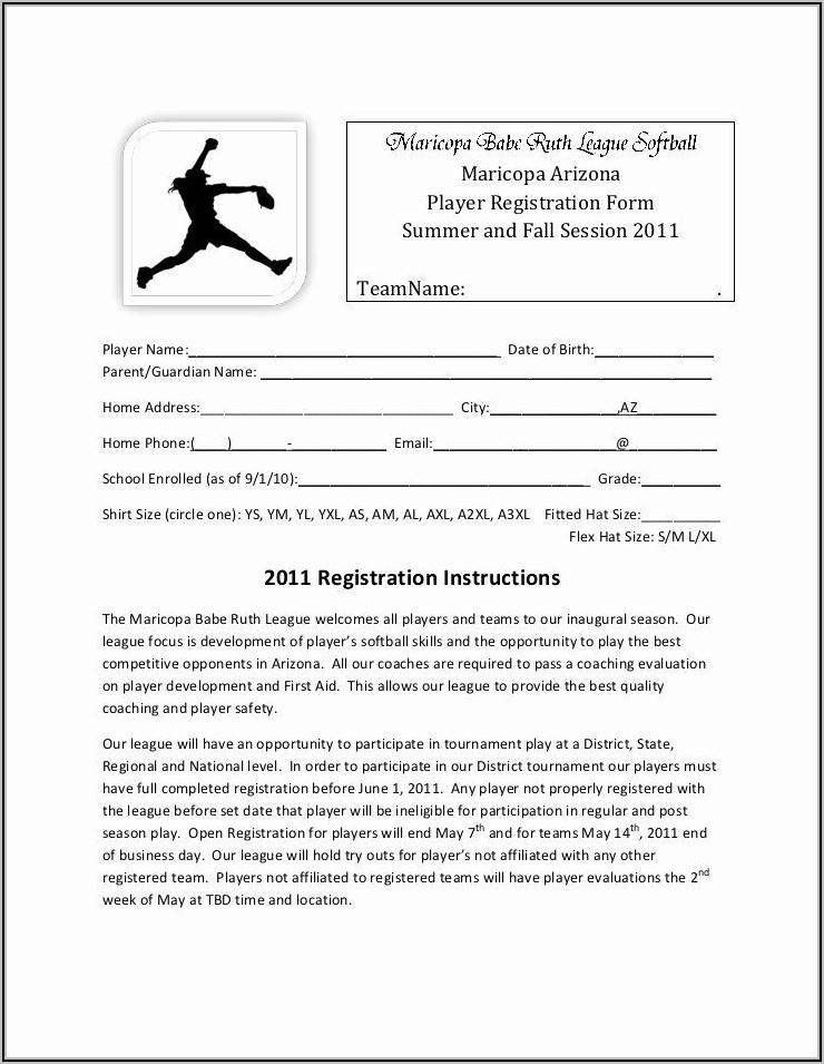 Baseball Registration Form Template Word
