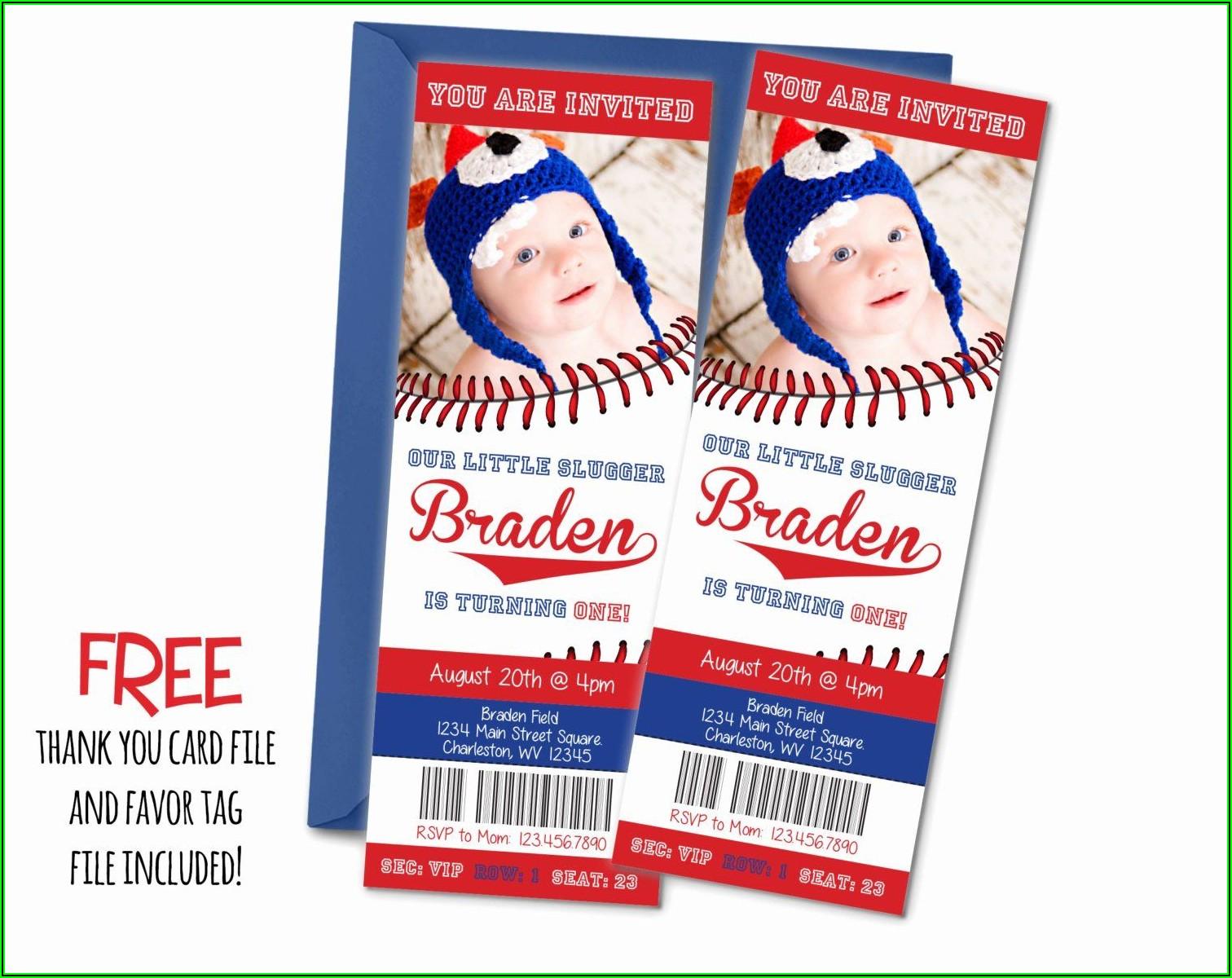 Baseball Ticket Invitations Template Free