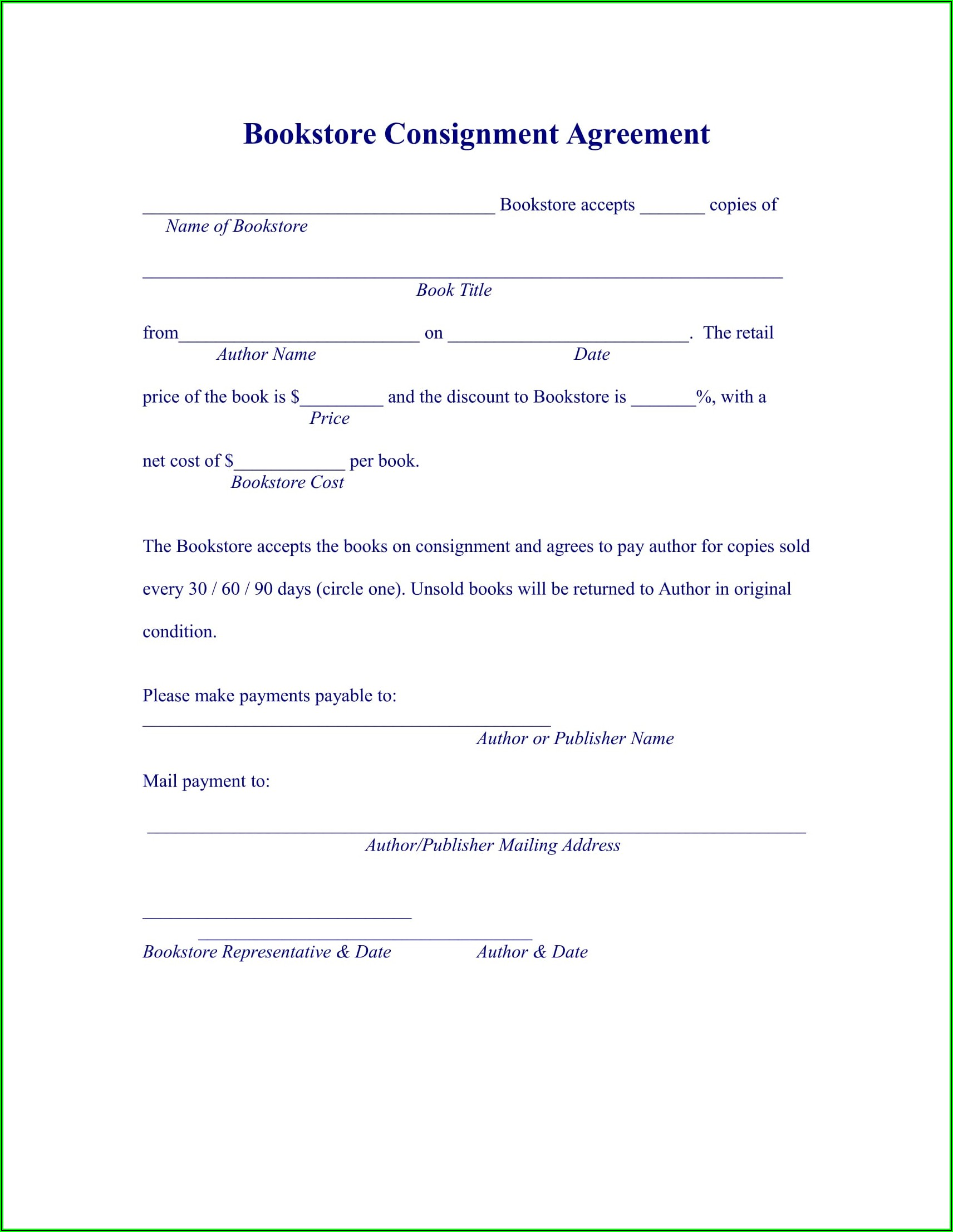 Basic Consignment Agreement Form