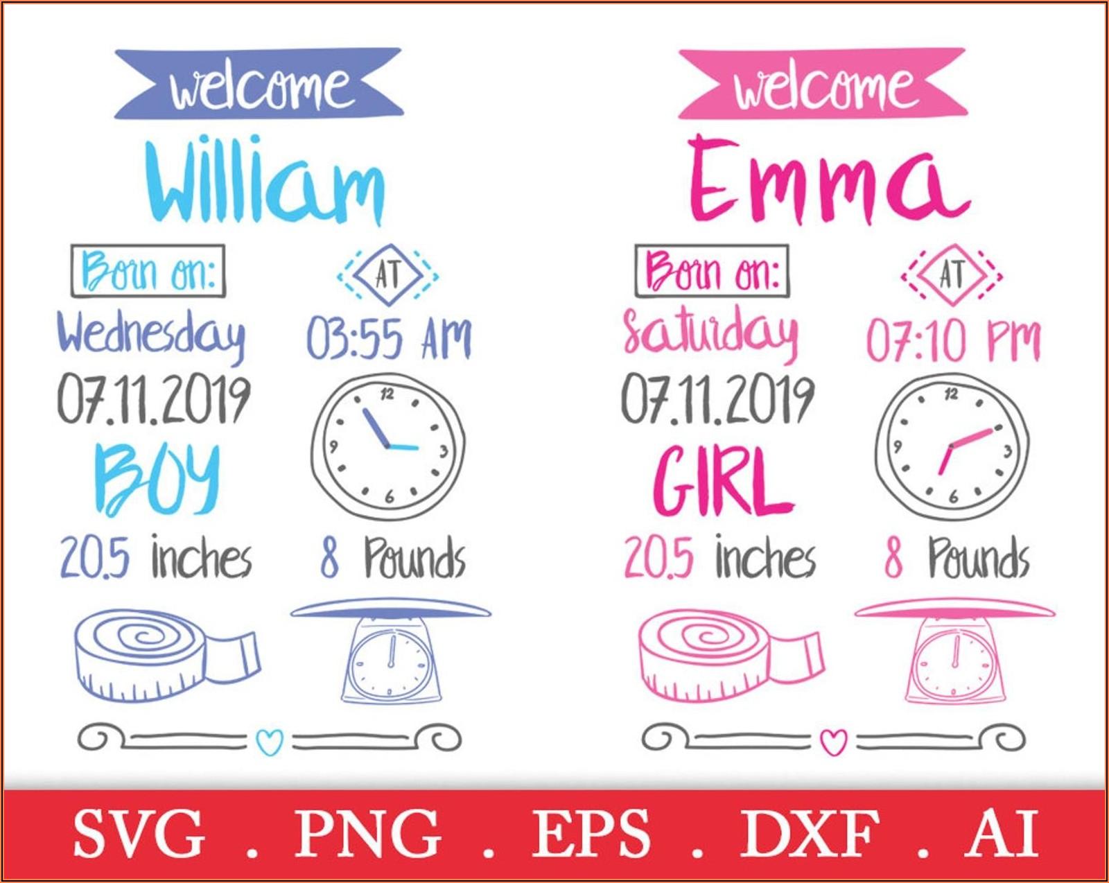 Birth Announcement Pillow Svg