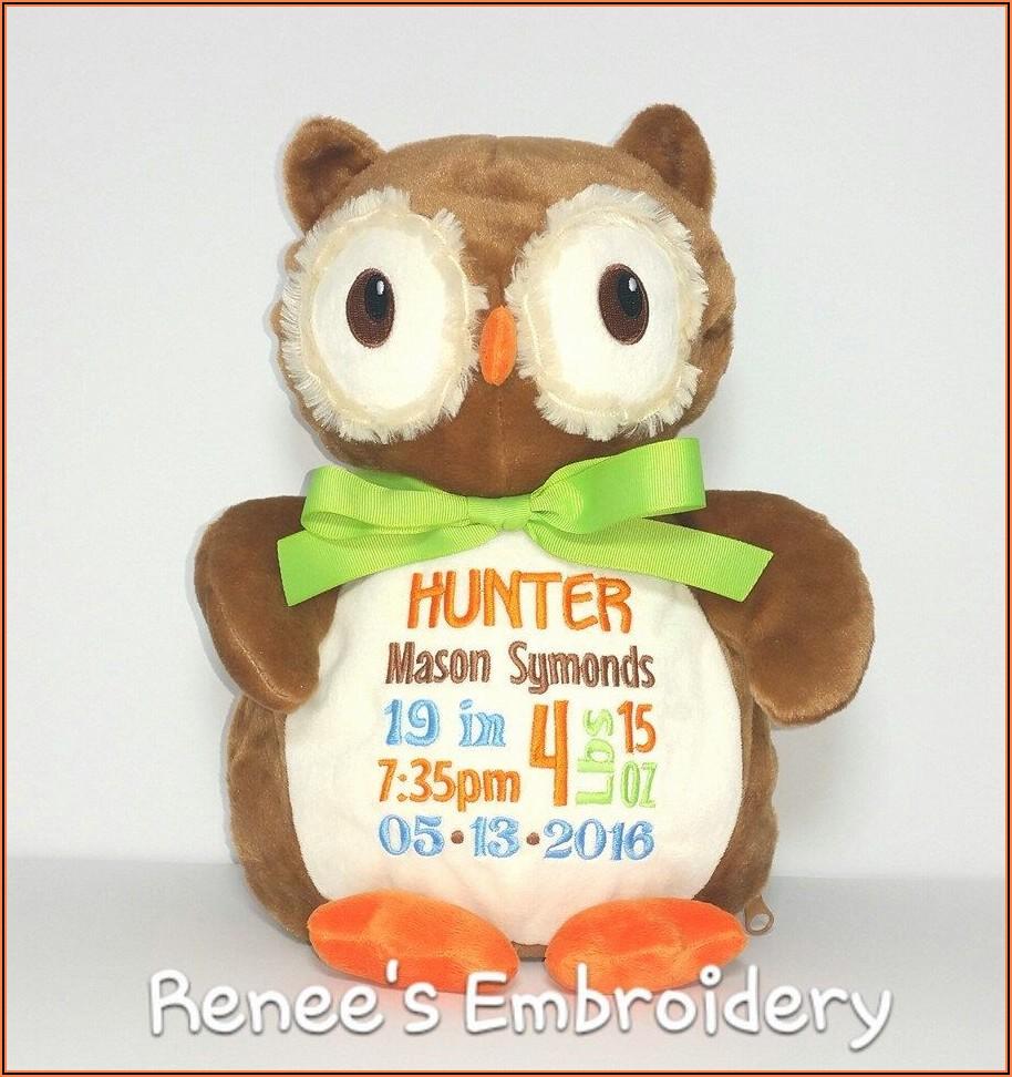 Birth Announcement Stuffed Animal Owl