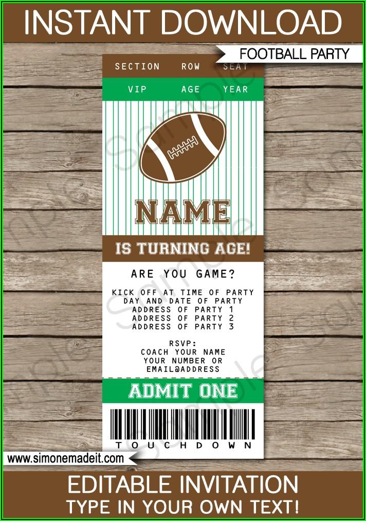 Blank Football Invitation Template