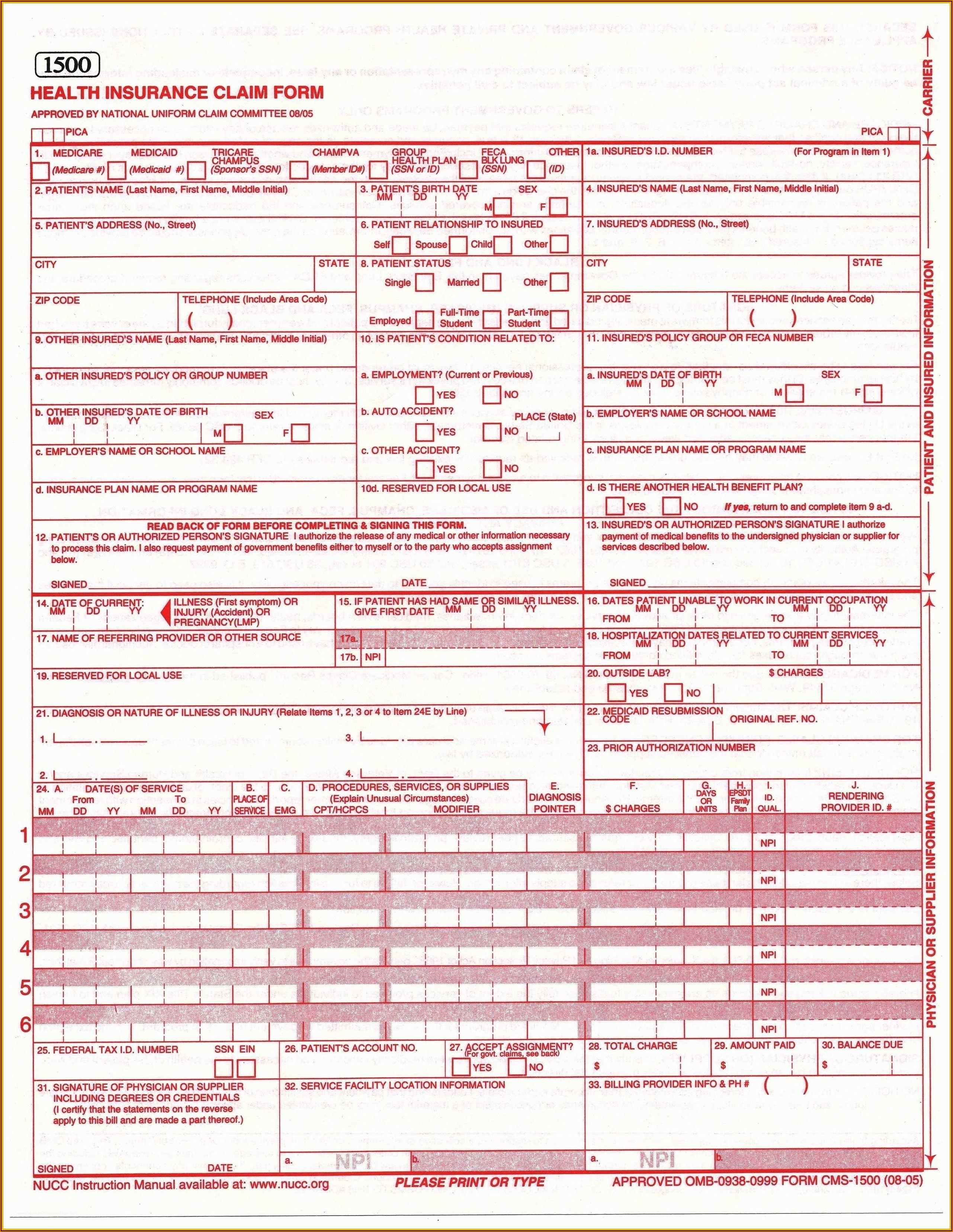 Blank Hcfa Form Pdf