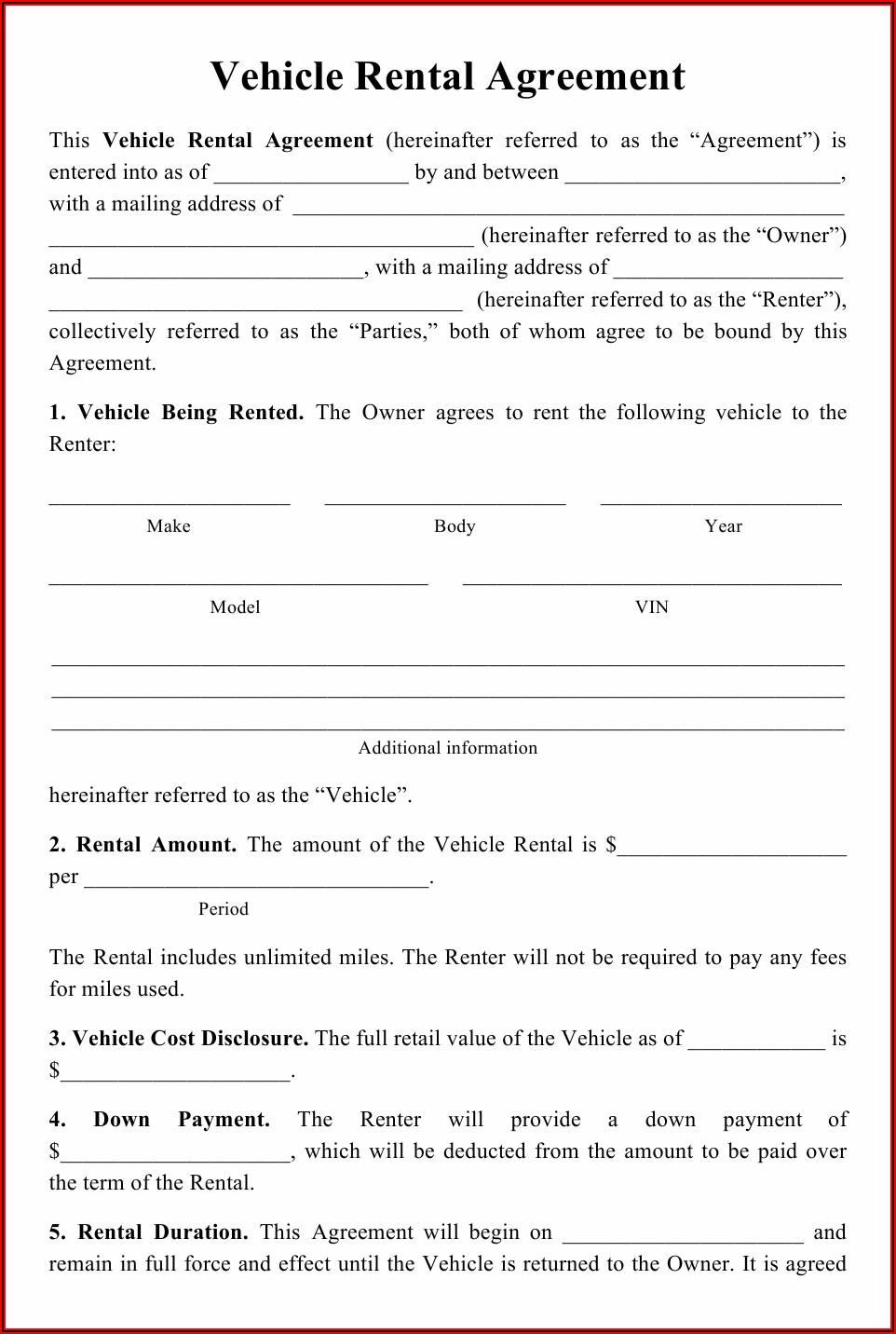 Blank Printable Car Rental Agreement Form