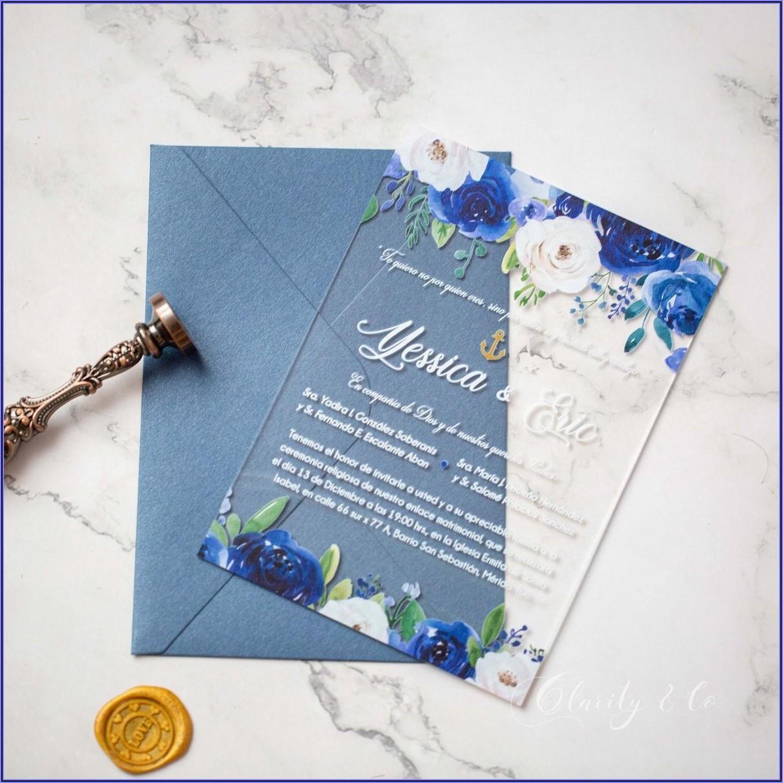 Blue And Blush Wedding Invitations