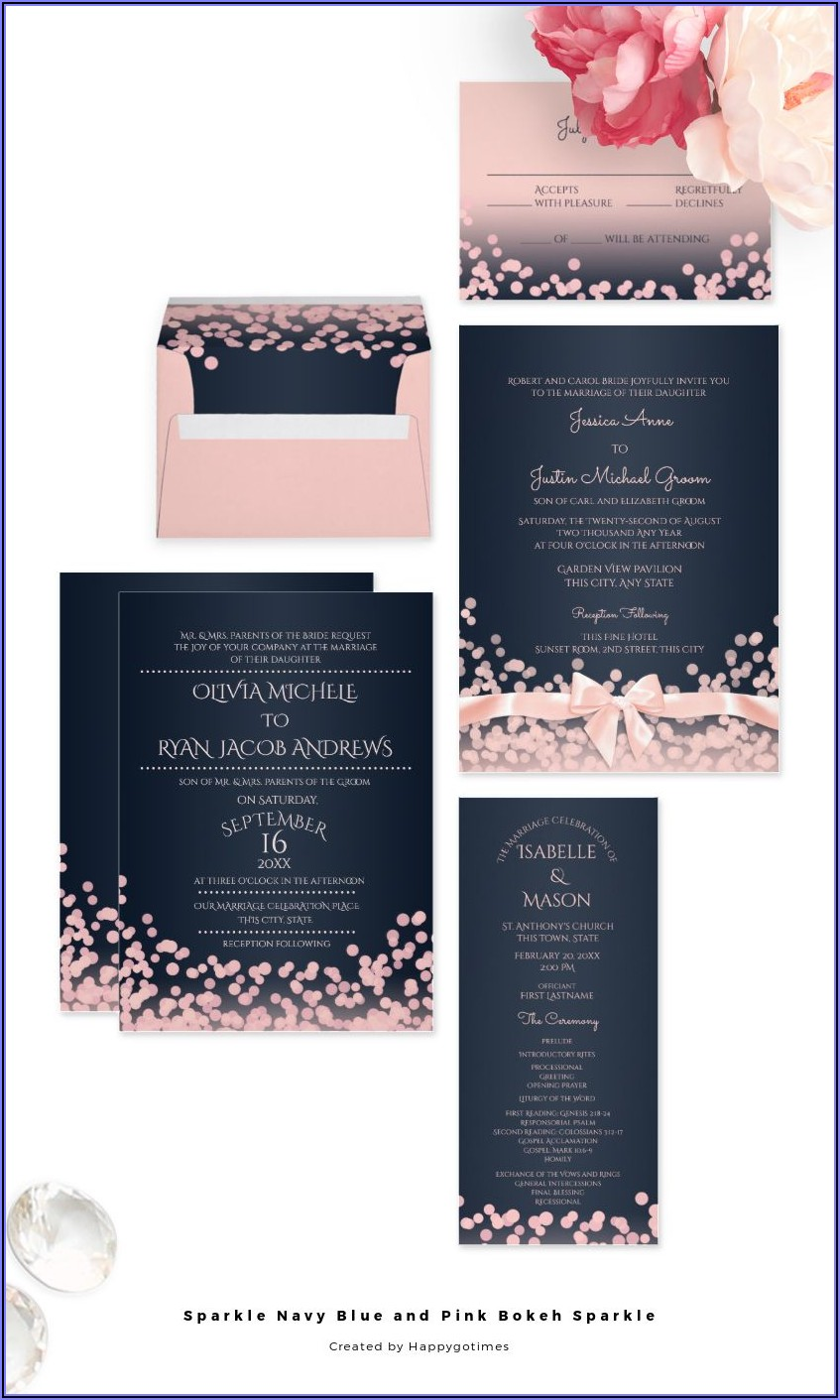 Blue And Pink Wedding Invitations