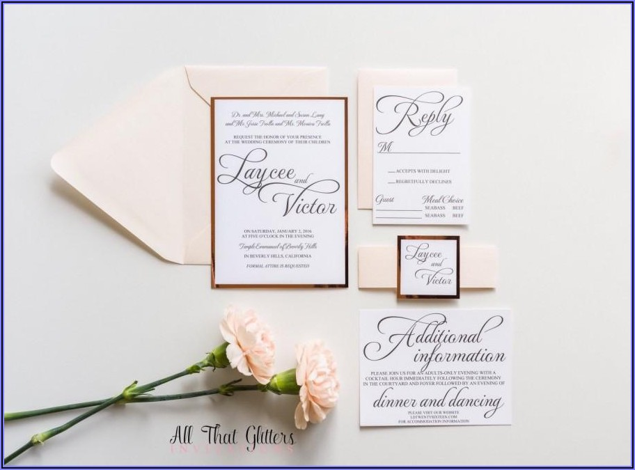 Blush And Gold Foil Wedding Invitations