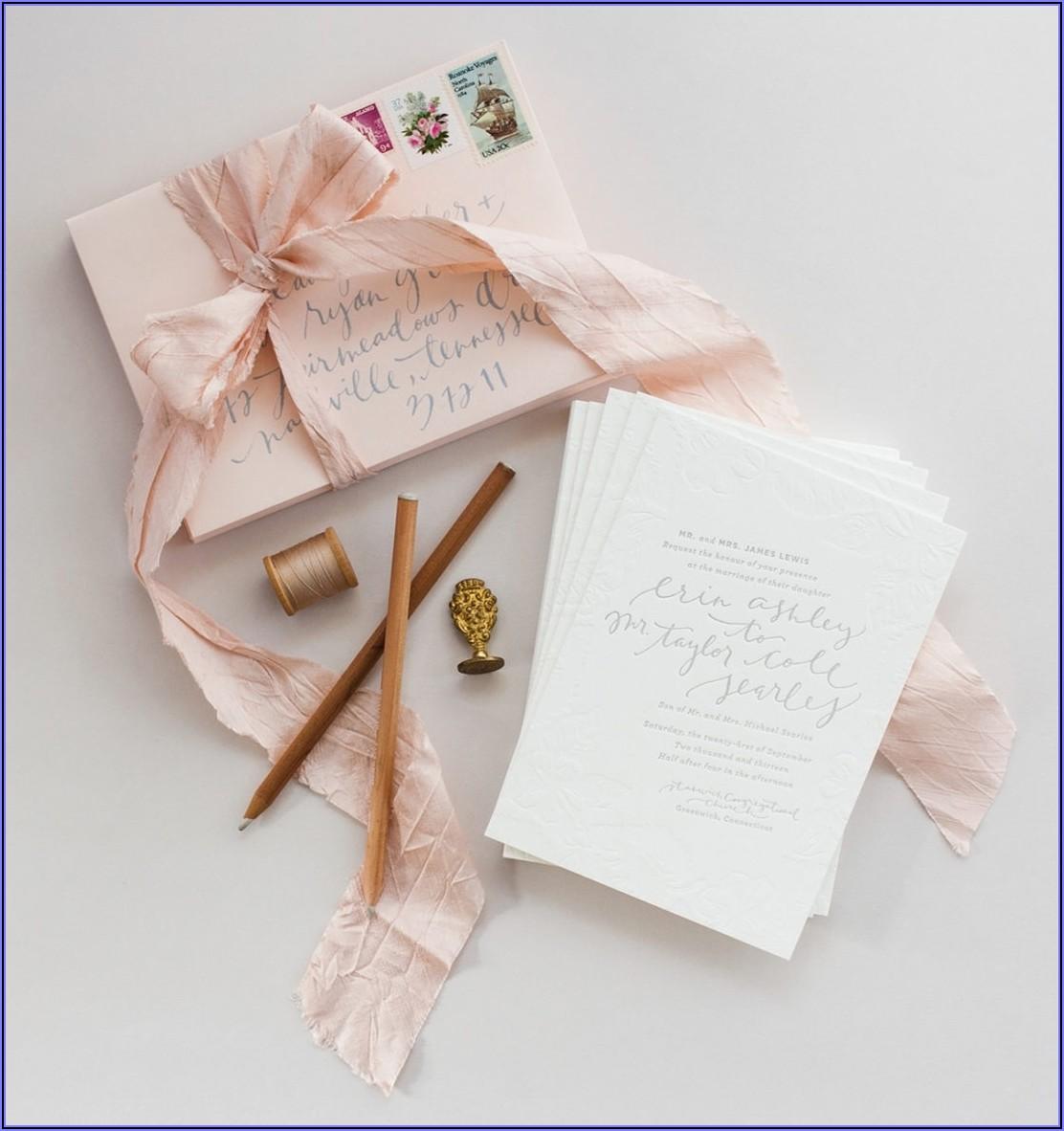 Blush And Grey Wedding Invitations