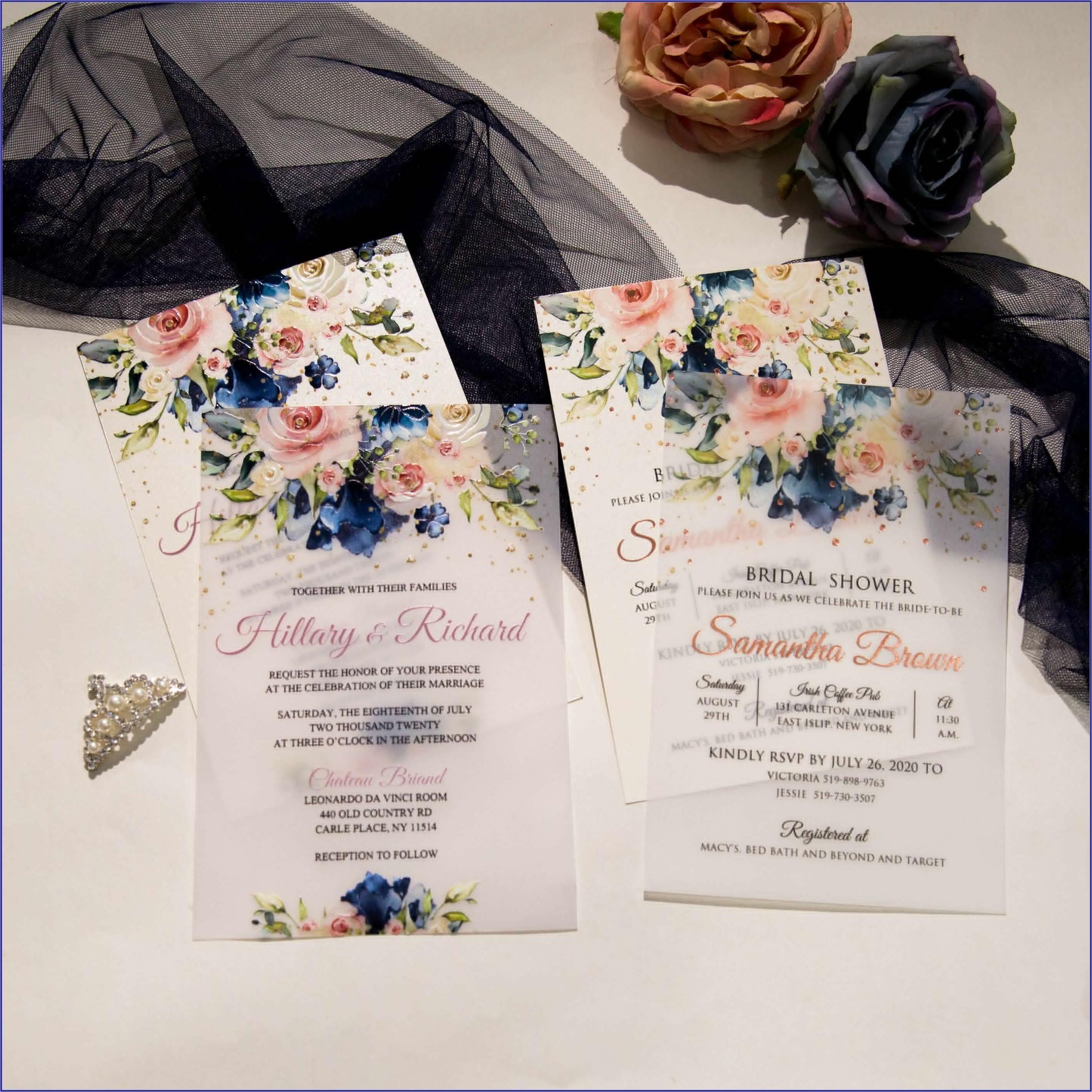 Blush And Navy Blue Wedding Invitations
