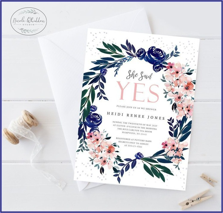Blush And Navy Bridal Shower Invites