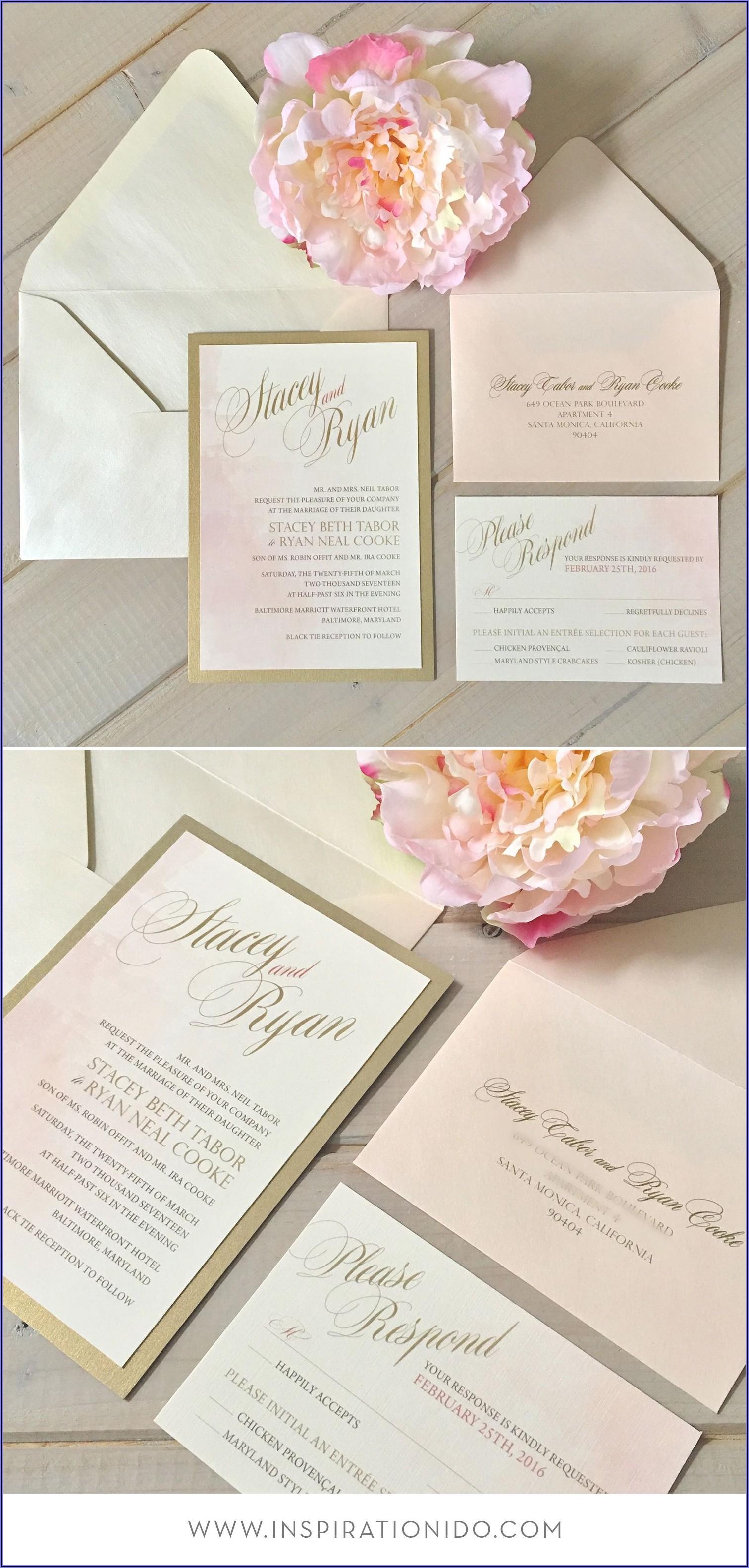 Blush Ivory And Gold Wedding Invitations