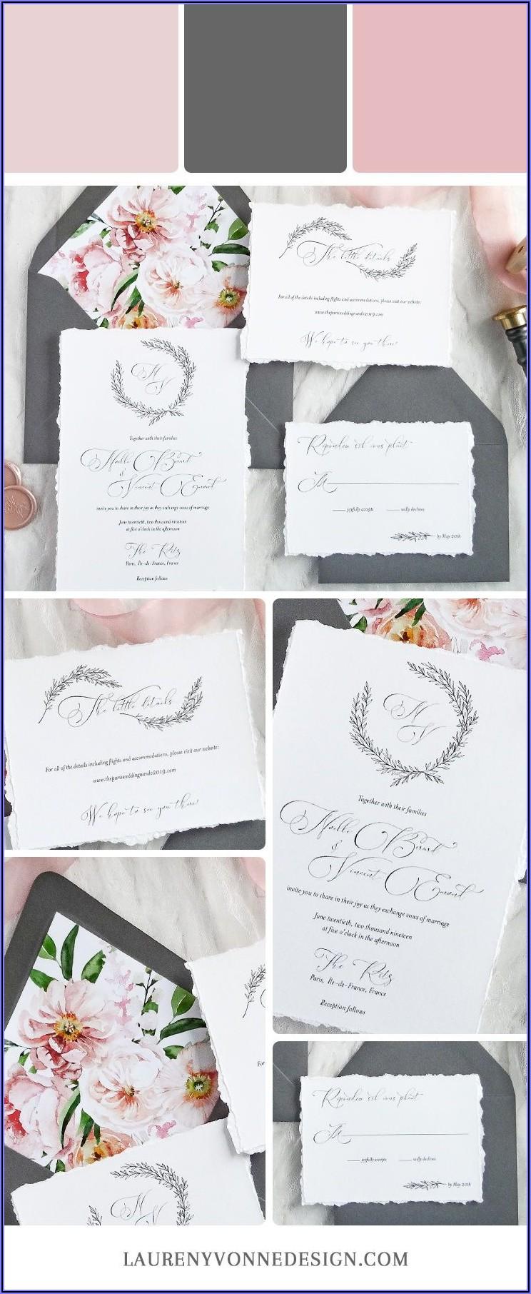 Blush Pink And Gray Wedding Invitations