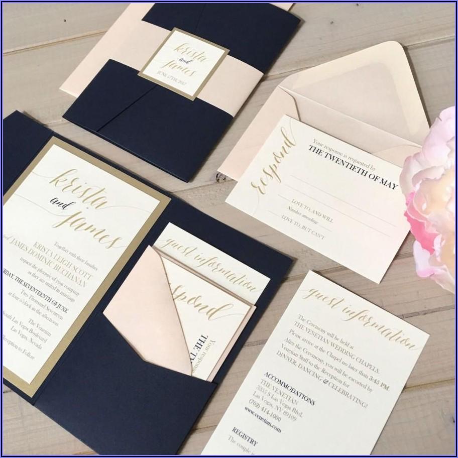 Blush Pink And Navy Wedding Invitations
