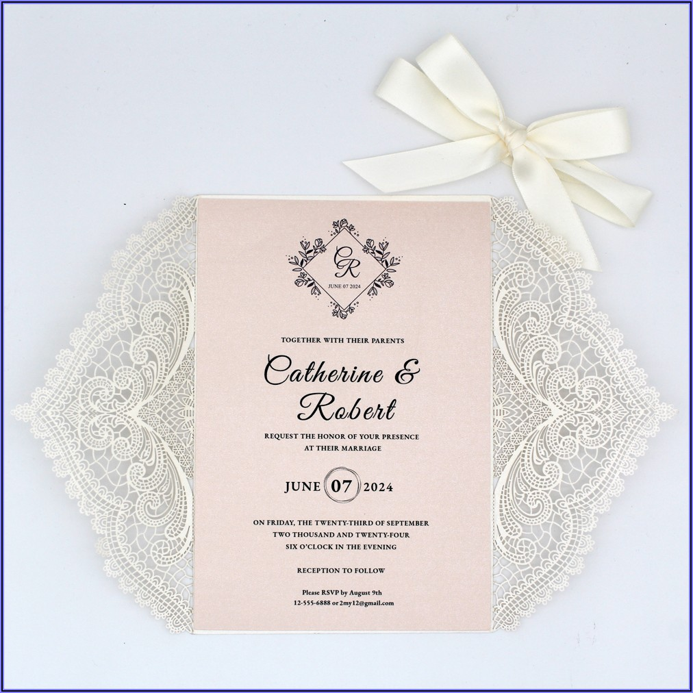 Blush Pink Lace Wedding Invitations
