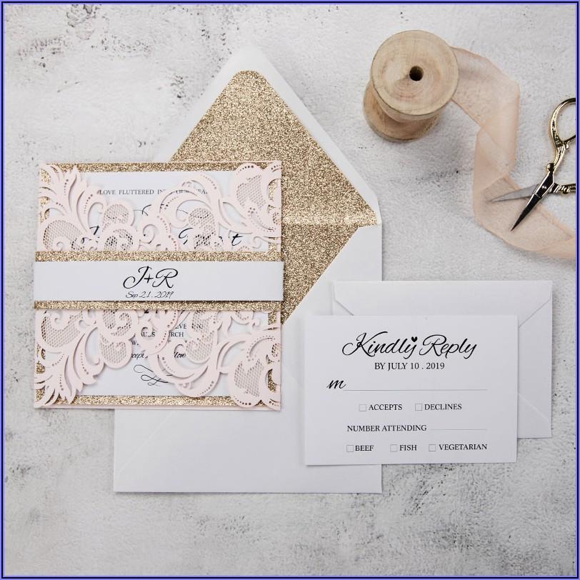 Blush Pink Laser Cut Wedding Invitations Uk