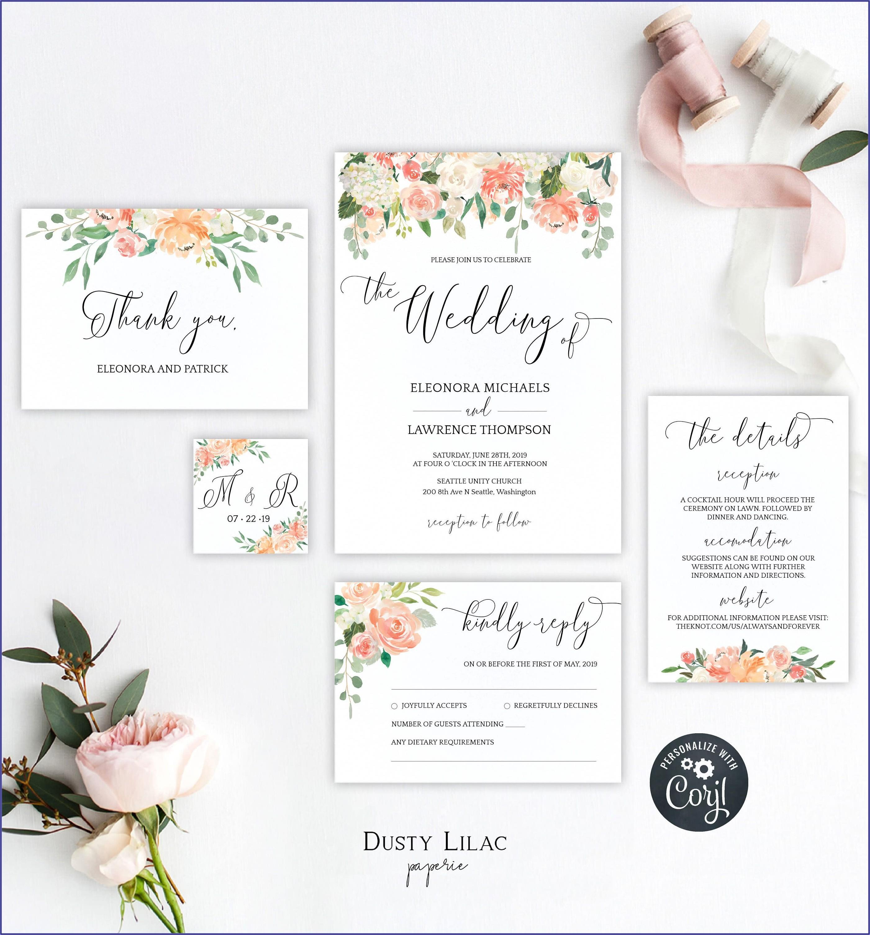 Blush Pink Wedding Invitation Template