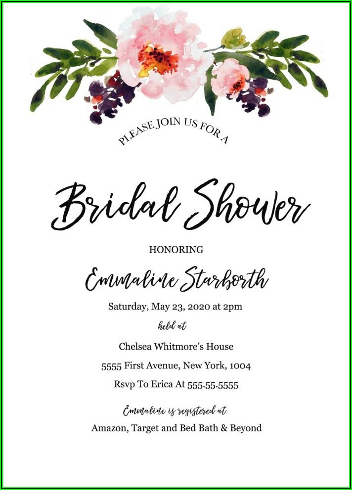 Bridal Shower Invitations Free Templates