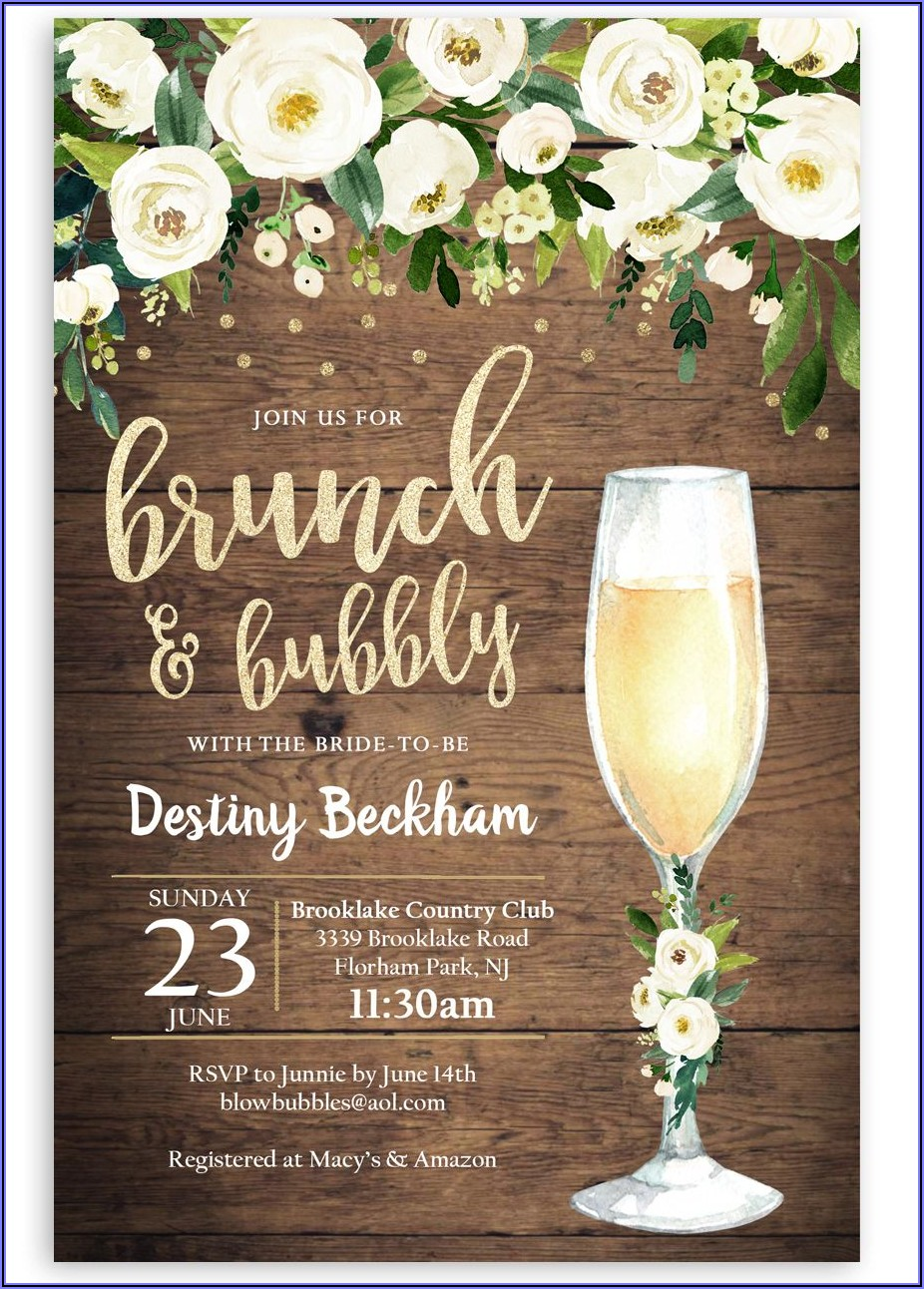 Brunch And Bubbly Invitation Wording
