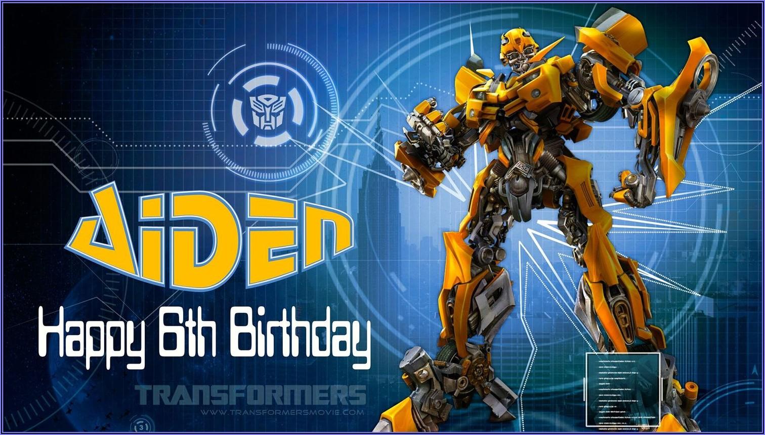 Bumblebee Transformer Birthday Invitation Template