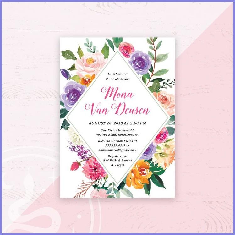 Burgundy And Blush Bridal Shower Invitations