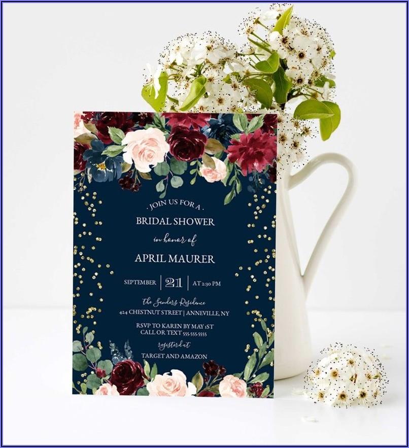 Burgundy And Navy Bridal Shower Invitations