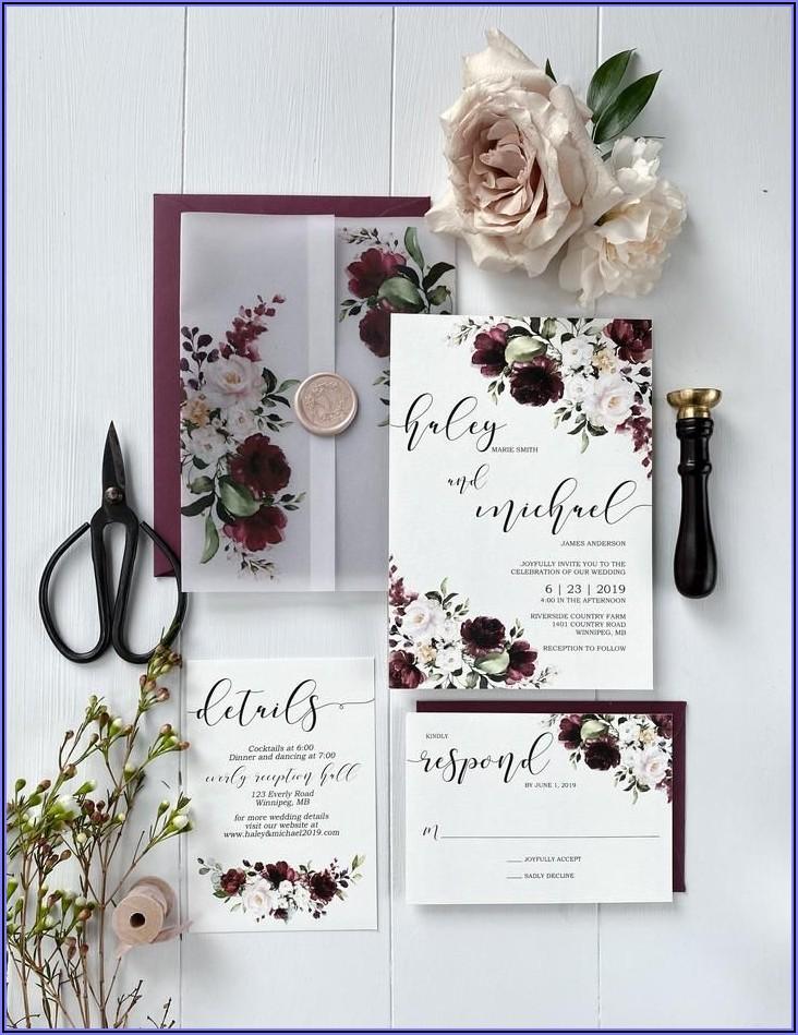 Burgundy And Pink Wedding Invitations