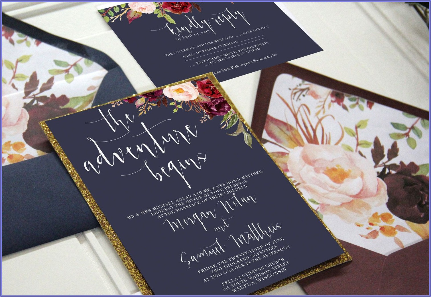 Burgundy Gold And Navy Wedding Invitations