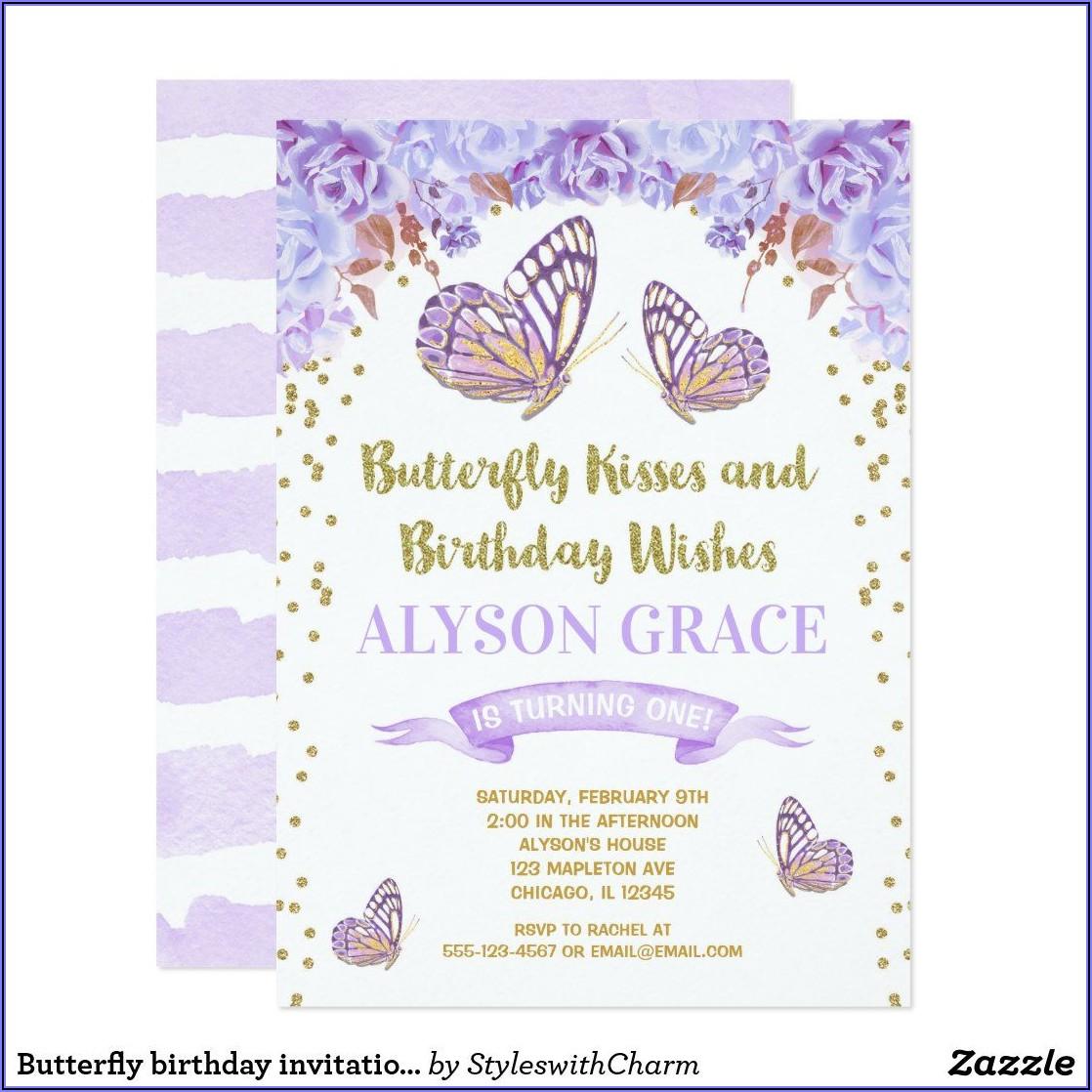 Butterfly 1st Birthday Invitations