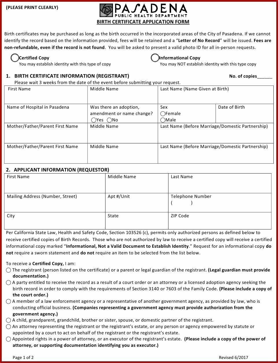 California Birth Certificate Application Form