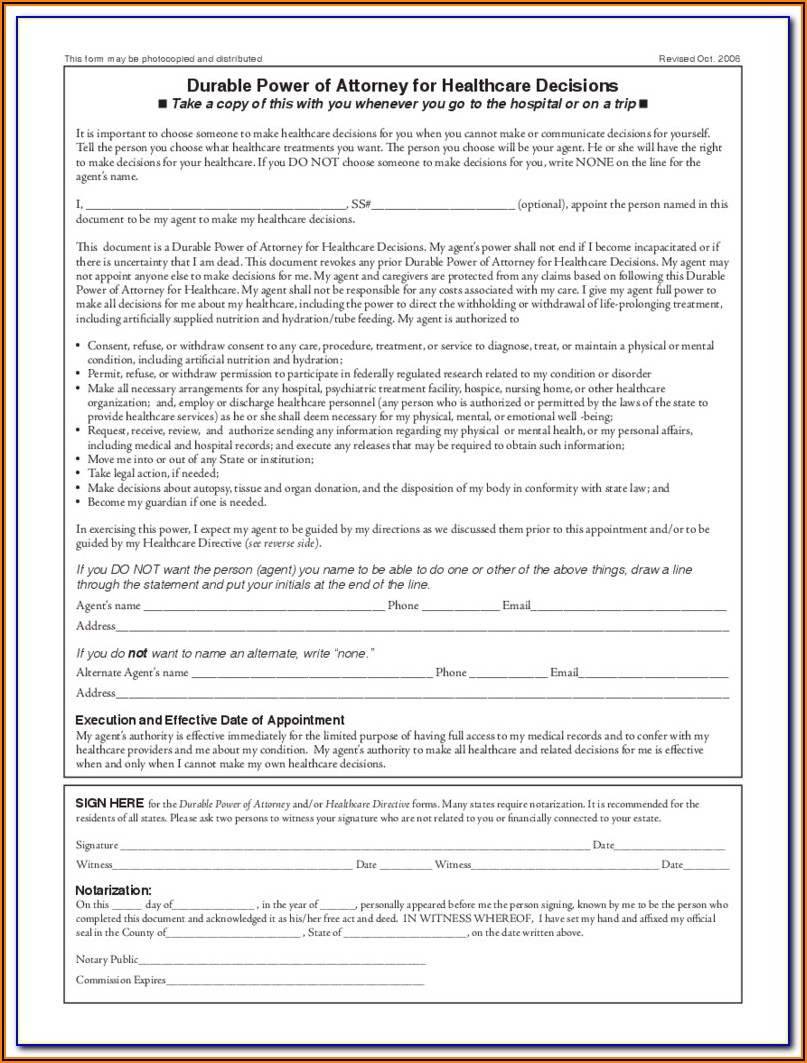 California Durable Power Of Attorney For Health Care Form