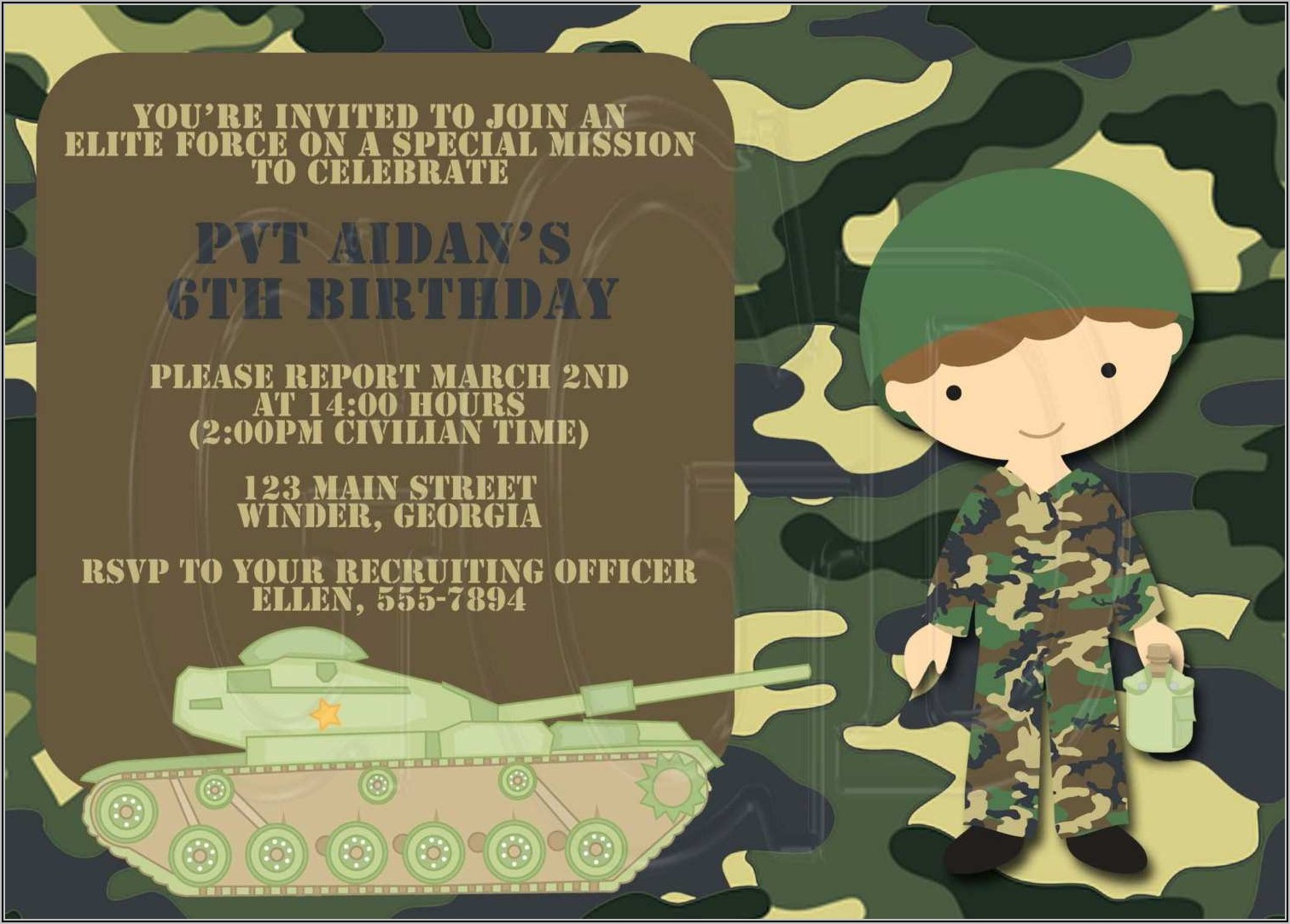 Camouflage Party Invitation Template Free