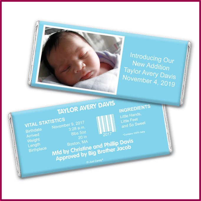 Candy Bar Wrappers Baby Announcements