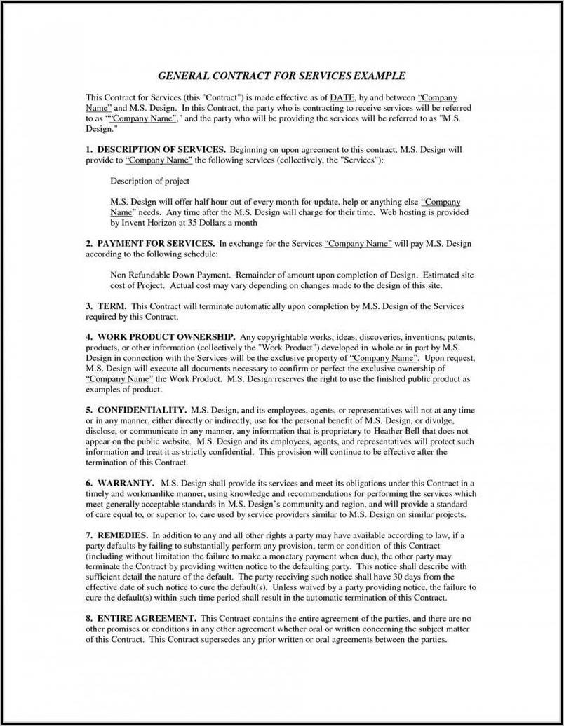 Caregiver Service Agreement Template
