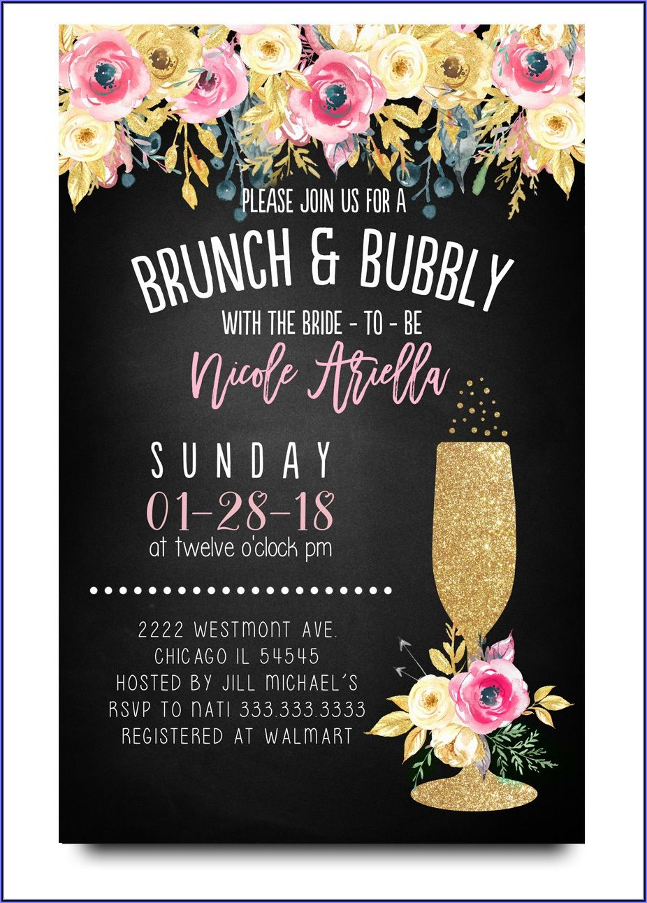 Cheap Brunch And Bubbly Bridal Shower Invitations