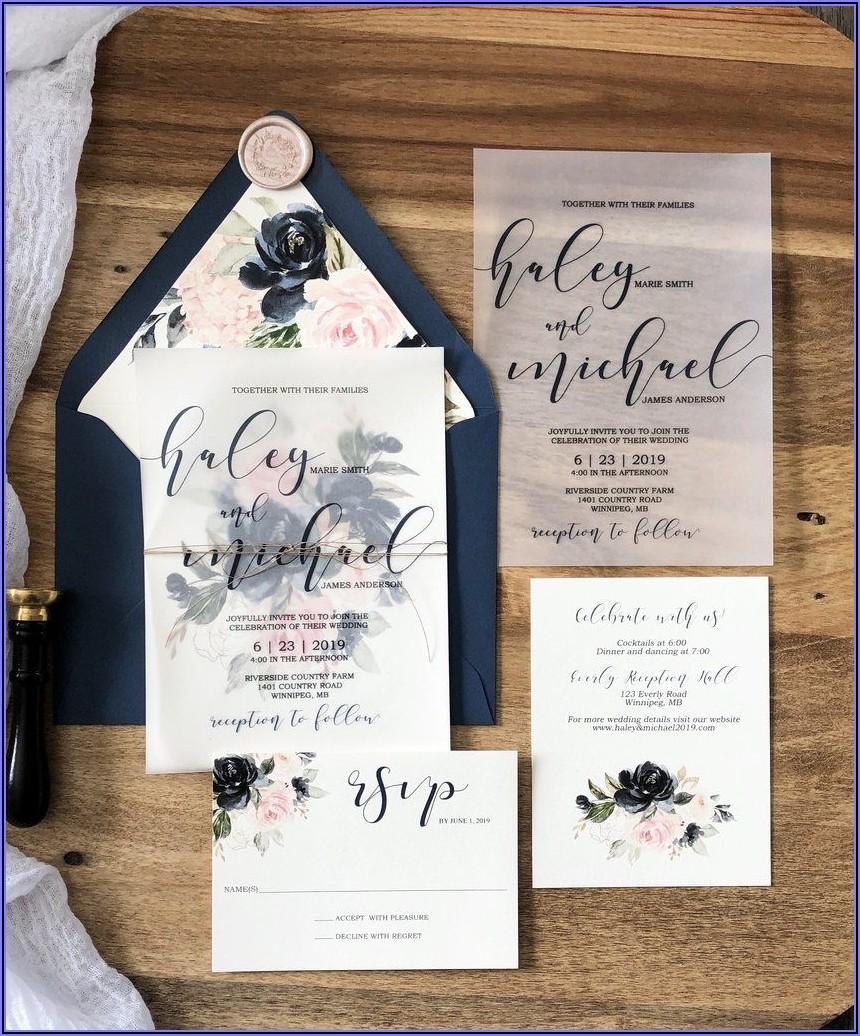Cheap Navy And Blush Wedding Invitations