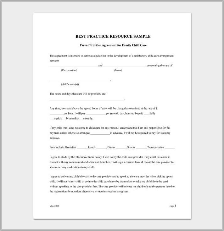 Childcare Registration Form Template