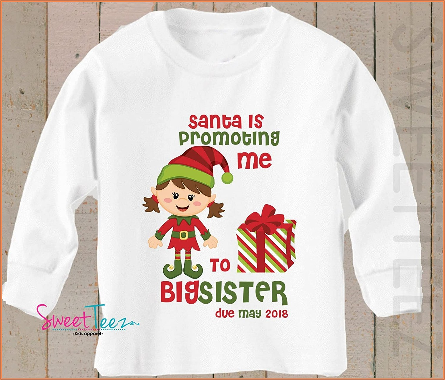 Christmas Pregnancy Announcement Shirts For Siblings