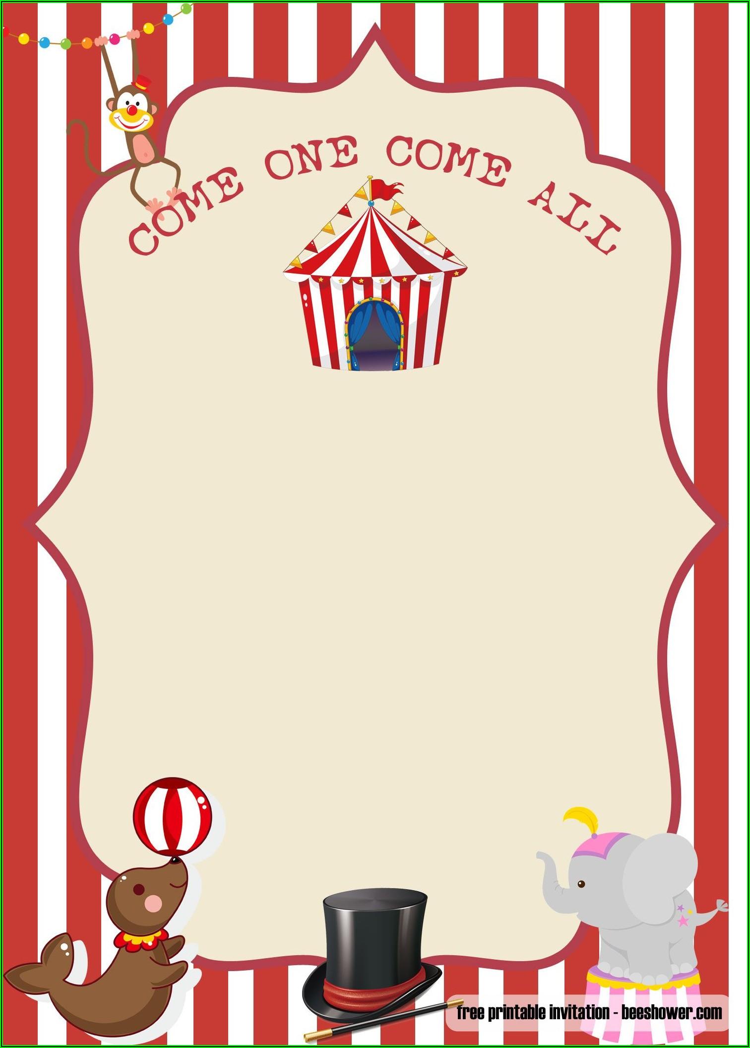 Circus Invitation Template Free Download