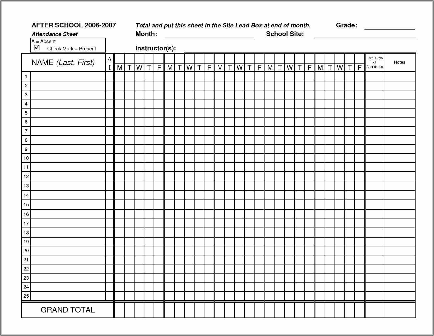 Class Roll Sheet Template