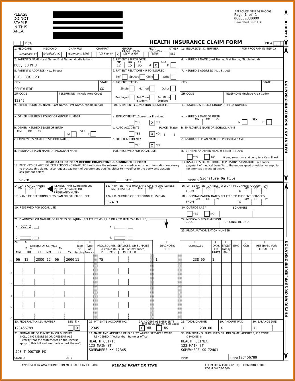 Cms 1500 Fillable Form