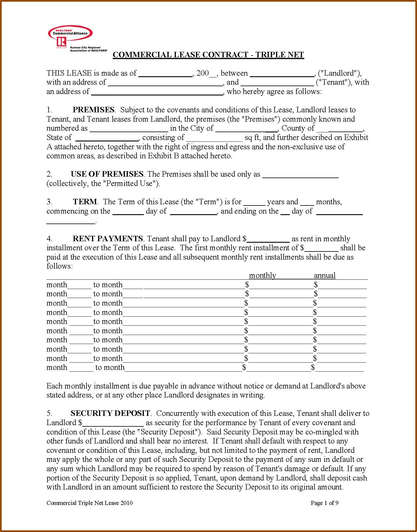 Commercial Lease Contract Pdf