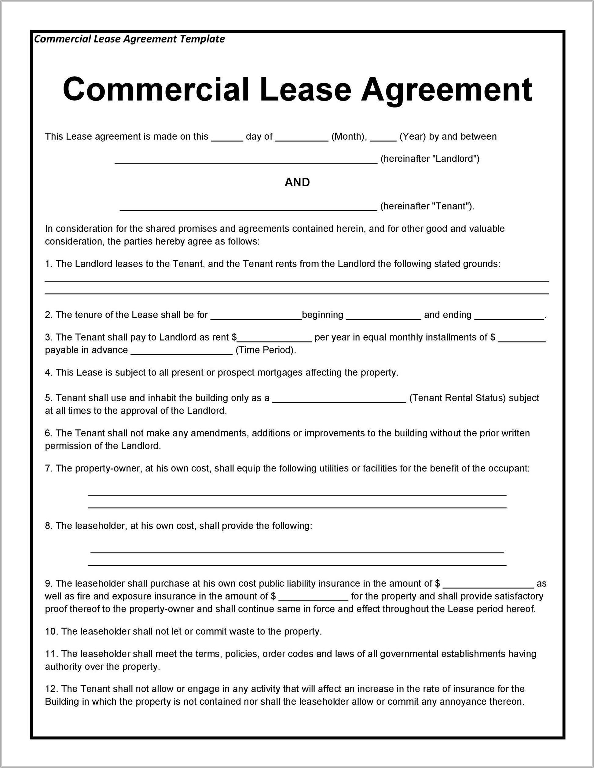 Commercial Lease Proposal Template Pdf