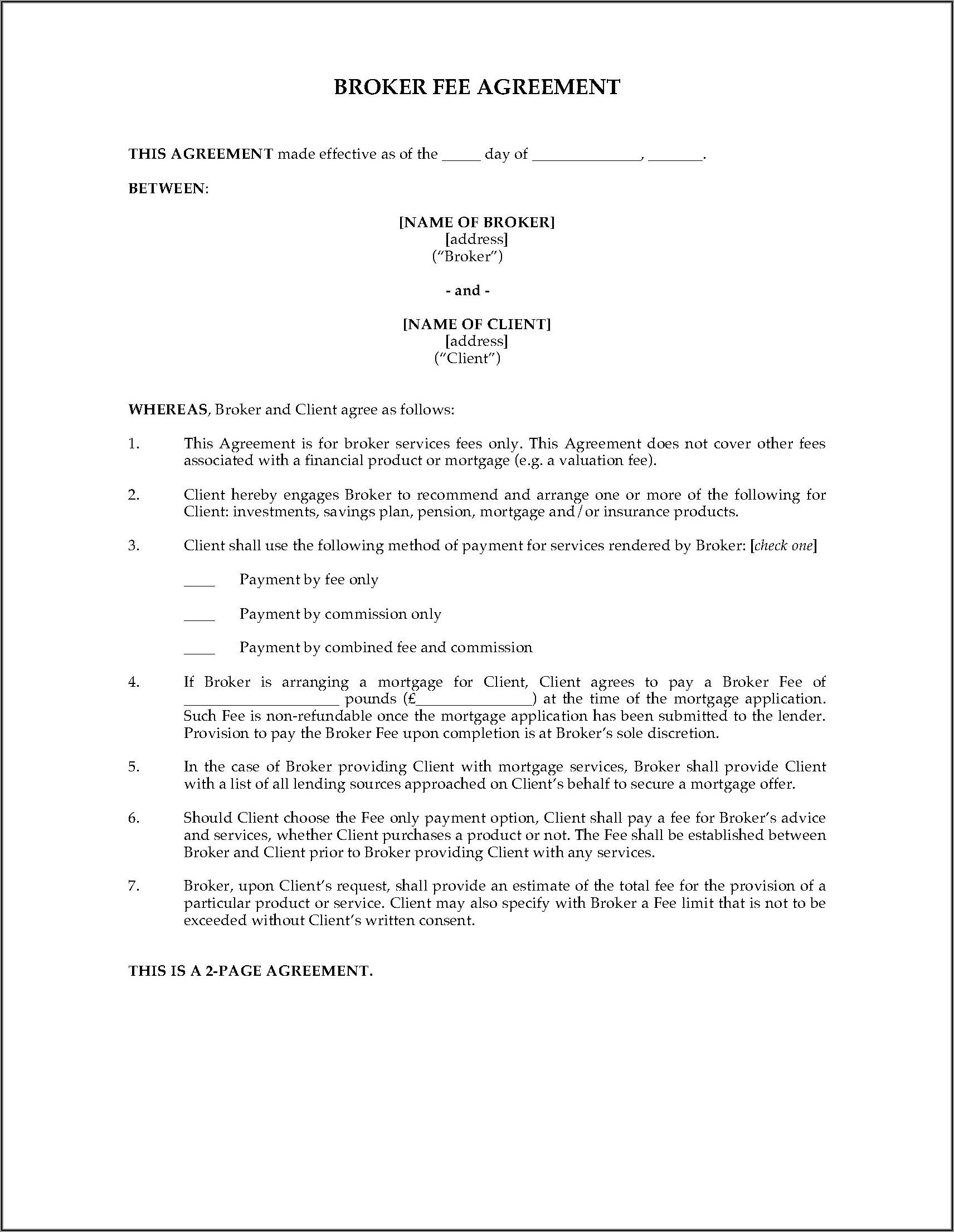 Commercial Loan Broker Agreement Template