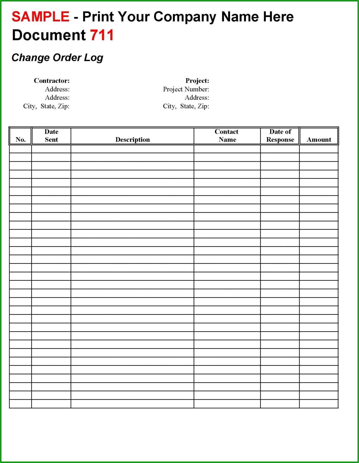 Construction Change Order Log Template Excel