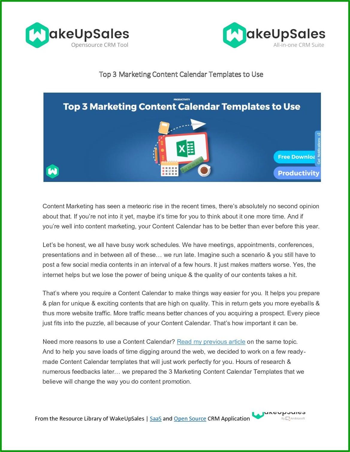 Content Marketing Calendar Templates