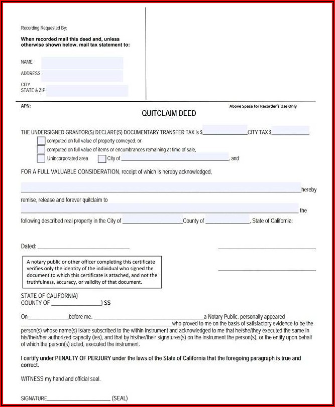 Cook County Quit Claim Deed Form Instructions