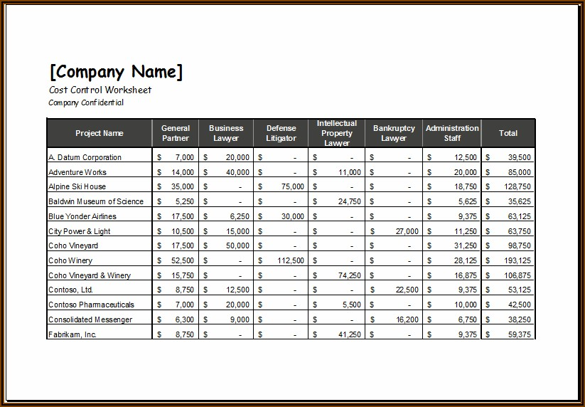 Cost Spreadsheet Template Excel
