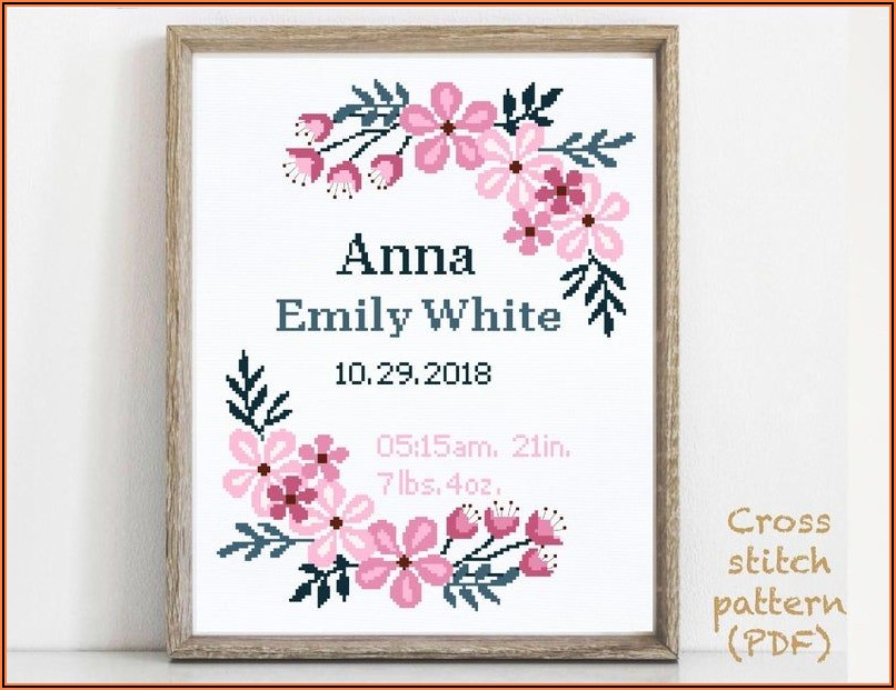 Counted Cross Stitch Birth Announcement Girl